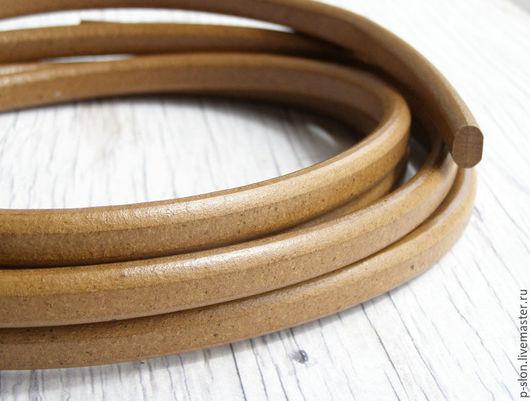Для украшений ручной работы. Ярмарка Мастеров - ручная работа. Купить Шнур кожаный для regaliz (регализ) 10х6мм горчичный. Handmade.