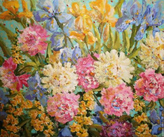 Картины цветов ручной работы. Ярмарка Мастеров - ручная работа. Купить Ирисы-Пионы. Handmade. Розовый, пионы, ирисы, цветы