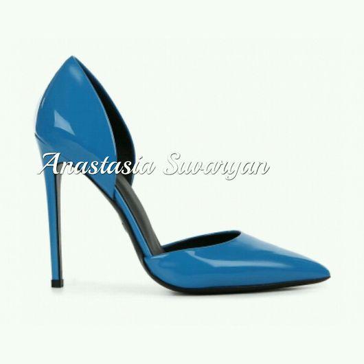 Обувь ручной работы. Ярмарка Мастеров - ручная работа. Купить Туфли женские в Небесно-голубом цвете. Handmade. Туфли