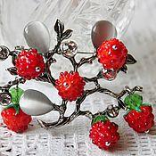 Украшения handmade. Livemaster - original item Brooch berry lampwork Raspberry Bush.. Handmade.