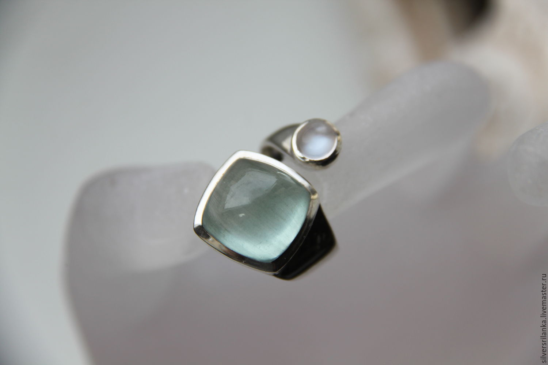 Кольца ручной работы. Ярмарка Мастеров - ручная работа. Купить Кольцо незамкнутое Аквамарин+лунный камень. Handmade. Голубой, лунный камень