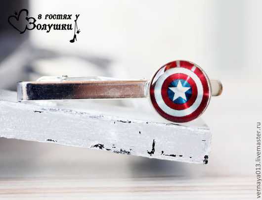 """Украшения для мужчин, ручной работы. Ярмарка Мастеров - ручная работа. Купить Зажим для галстука """"Капитан Америка"""". Handmade. Ярко-красный"""