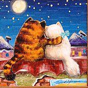 """Картины и панно ручной работы. Ярмарка Мастеров - ручная работа """"Коты и кошки на крыше"""". Handmade."""