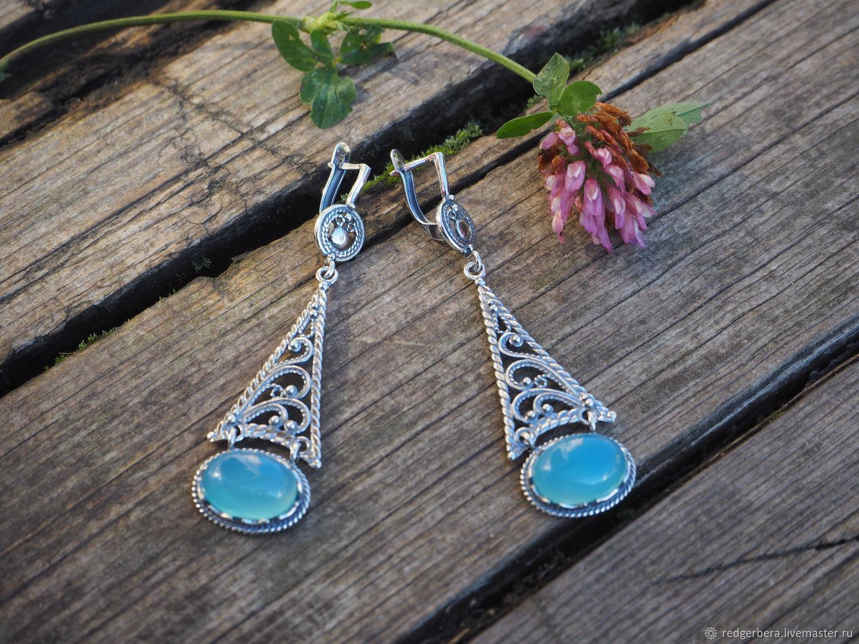 aa2012609 Earrings handmade. Livemaster - handmade. Buy Earrings 'Margo' natural  chalcedony, silver ...
