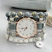 Watches handmade. Livemaster - original item Watch stylish wrist gray women with Jasper