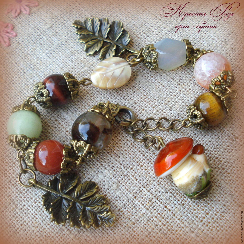 Bracelet 'Mushroom', Bead bracelet, Stupino,  Фото №1