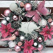 Подарки к праздникам ручной работы. Ярмарка Мастеров - ручная работа Рождественский венок Розовые сны. Handmade.