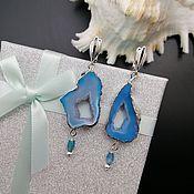 Украшения handmade. Livemaster - original item Asymmetrical earrings: with blue agate geodes Archipelagos-4. Handmade.