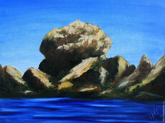 """Пейзаж ручной работы. Ярмарка Мастеров - ручная работа. Купить Картина """"Крабовый остров"""". Handmade. Разноцветный, картина в подарок, мастихин"""
