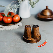 Для дома и интерьера handmade. Livemaster - original item Salt and pepper shakers with stand a Set of wooden Siberian Cedar #SP3. Handmade.
