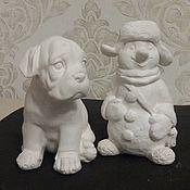 Подарки к праздникам ручной работы. Ярмарка Мастеров - ручная работа снеговик из гипса собака из гипса. Handmade.