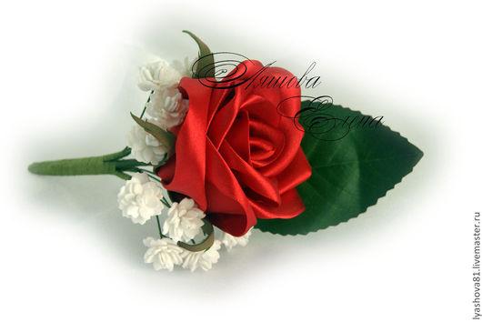 """Свадебные цветы ручной работы. Ярмарка Мастеров - ручная работа. Купить Бутоньерка """"Роза. Handmade. Ярко-красный, бутоньерка свадебная"""