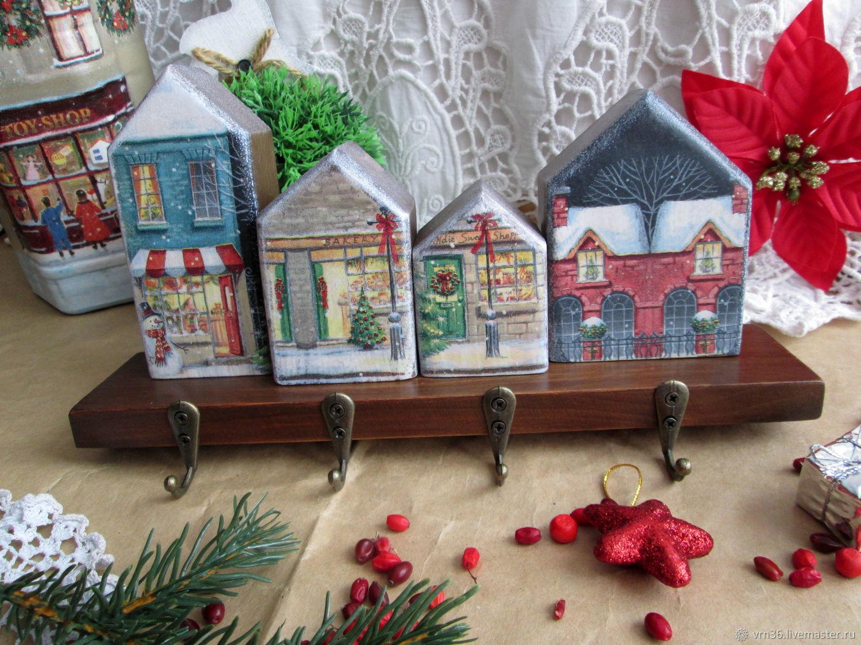 Entrance Hall handmade. Livemaster - handmade. Buy Housekeeper - houses Winter city.Brown, hanger in the hallway