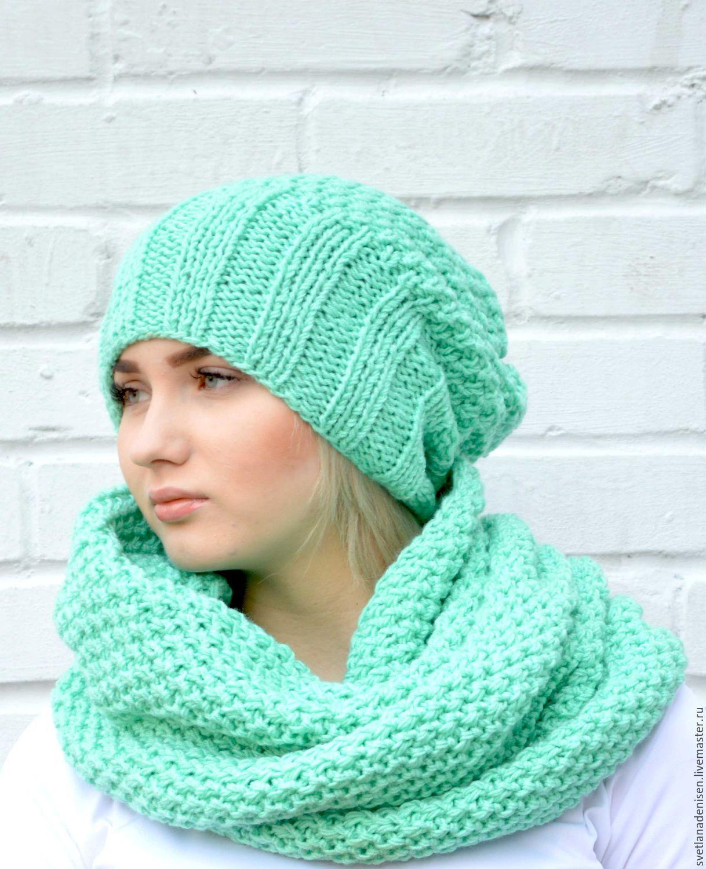 вязание снудов и шапок спицами