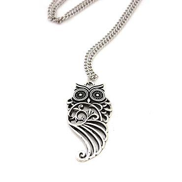 Decorations handmade. Livemaster - original item Openwork Owl pendant on a chain. Handmade.
