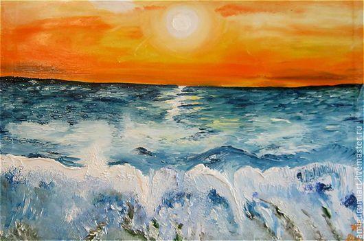 """Пейзаж ручной работы. Ярмарка Мастеров - ручная работа. Купить Картина """"Море. Закат"""". Handmade. Комбинированный, лето, подарок, закат"""