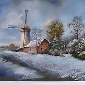 Картины и панно handmade. Livemaster - original item Painting pastel Dutch landscape (blue ochre winter mill). Handmade.