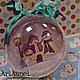 """Новый год 2017 ручной работы. Ярмарка Мастеров - ручная работа. Купить Большой шар """"Трио Снеговиков"""". Handmade. Тёмно-бирюзовый"""