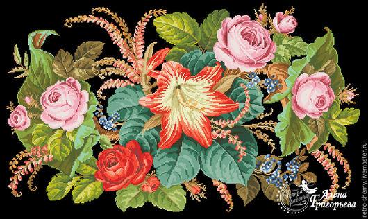 """Вышивка ручной работы. Ярмарка Мастеров - ручная работа. Купить Схема вышивки """"Вальс цветов"""". Handmade. Схема для вышивки, ретро"""