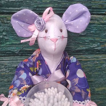 Для дома и интерьера ручной работы. Ярмарка Мастеров - ручная работа Мышка-хранительница ватных дисков и палочек. Handmade.