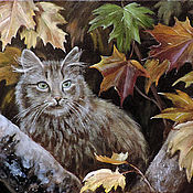 Картины и панно ручной работы. Ярмарка Мастеров - ручная работа Осенний кот. Handmade.