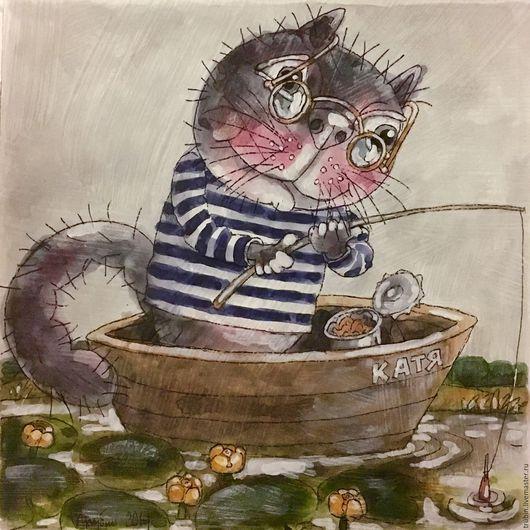 """Животные ручной работы. Ярмарка Мастеров - ручная работа. Купить """"Кот-рыбак""""акварельная работа. Handmade. Серый, коты, рыбак кот"""