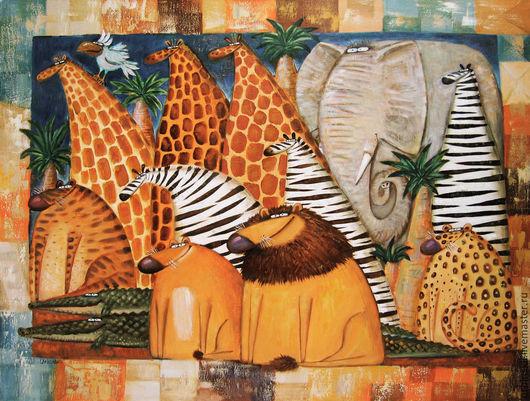 Животные ручной работы. Ярмарка Мастеров - ручная работа. Купить Животные Африки. Handmade. Коричневый, картина, юмор, холст на подрамнике