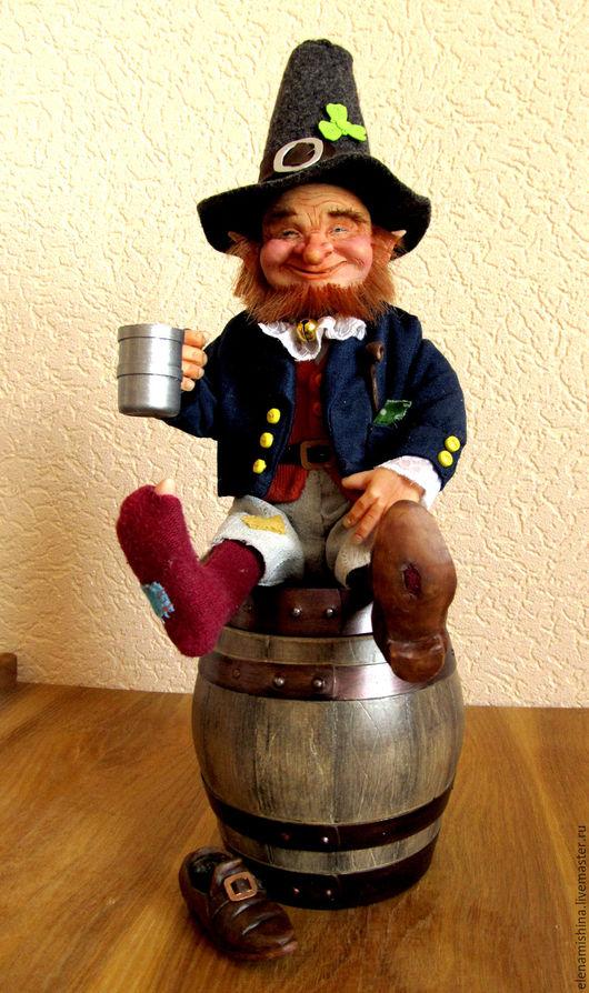 Коллекционные куклы ручной работы. Ярмарка Мастеров - ручная работа. Купить Лепрекон. Handmade. Рыжий, кружка для пива, ткани