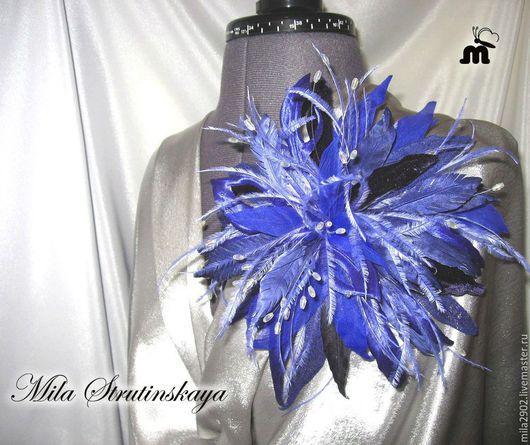 """Броши ручной работы. Ярмарка Мастеров - ручная работа. Купить Синий фантазийный цветок. Брошь из шелка """"Синяя птица""""Цветы из шелка. Handmade."""