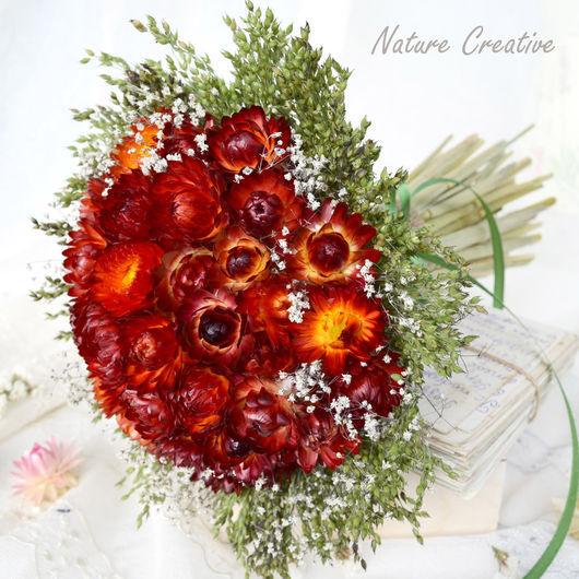 Букеты ручной работы. Ярмарка Мастеров - ручная работа. Купить «Красный шар» букет из сухоцветов. Handmade. Бордовый, подарок девушке
