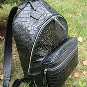 Сумки и аксессуары handmade. Livemaster - original item leather backpack/crocodile backpack/unisex backpack/black backpack/cro. Handmade.