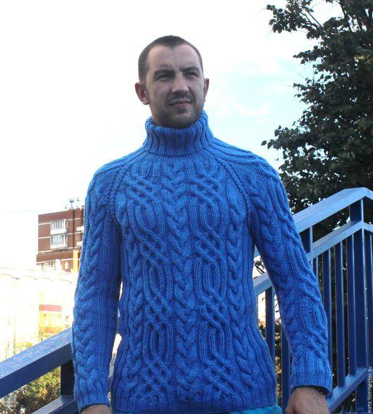 """Для мужчин, ручной работы. Ярмарка Мастеров - ручная работа. Купить свитер """"Fishermen""""небо. Handmade. Синий, ручная авторская работа"""