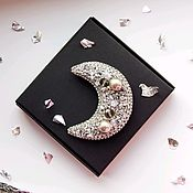 Украшения handmade. Livemaster - original item The Moon silver brooch with beads. Handmade.