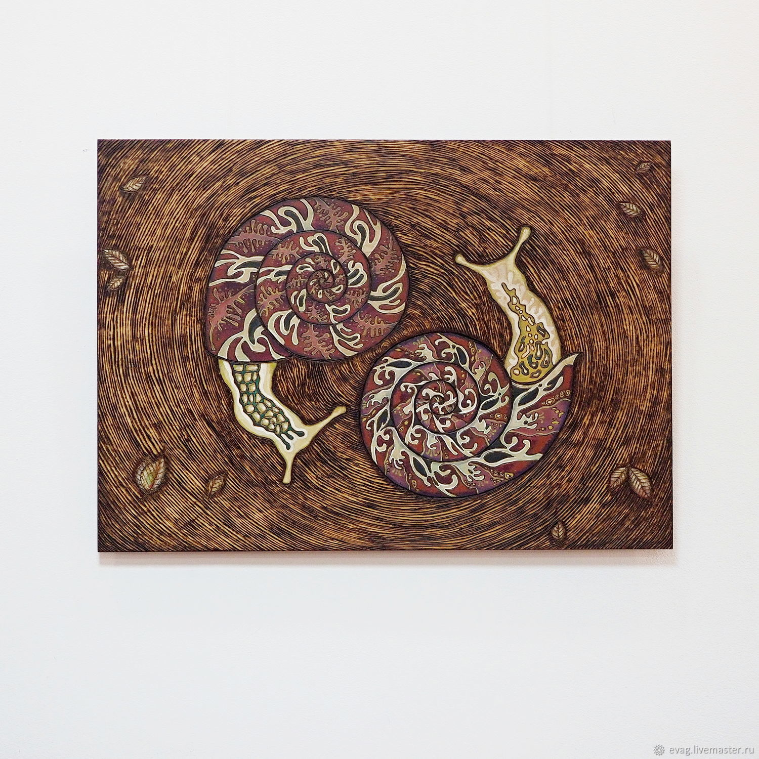 """The painting on wood 50x75sm """"Snails"""", Pictures, Moscow,  Фото №1"""