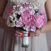 Свадебный салон ручной работы. Ярмарка Мастеров - ручная работа Свадебный розовый букет невесты из полимерной глины.. Handmade.