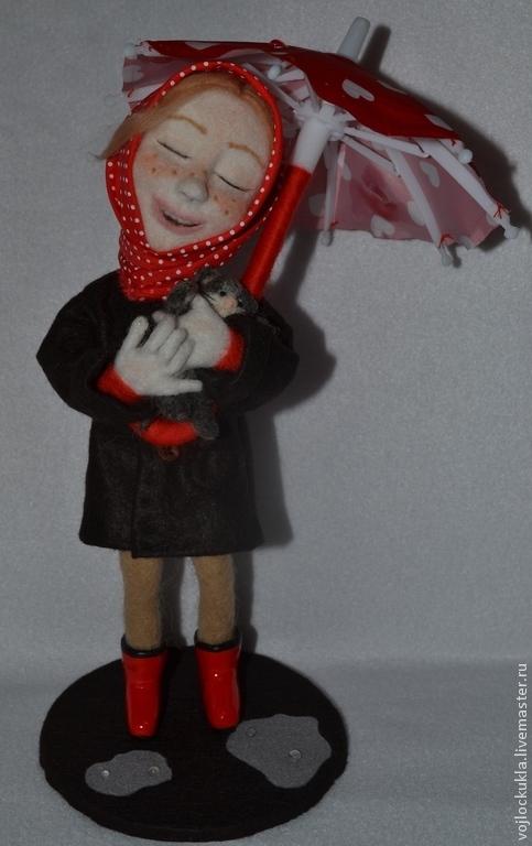 """Человечки ручной работы. Ярмарка Мастеров - ручная работа. Купить Войлочная скульптура """" Бездомный котенок"""". Handmade. Разноцветный, жалость"""