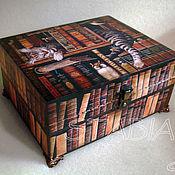 """Для дома и интерьера ручной работы. Ярмарка Мастеров - ручная работа Шкатулка """" Библиотекарь"""". Handmade."""