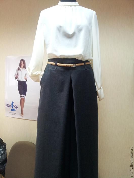 брюки-юбка из костюмной шерсти, широкие брюки на осень, юбка брюки на зиму, теплые брюки, офисный стиль, деловой стиль, осень-зима 2015
