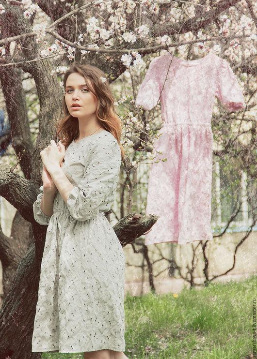 """Платья ручной работы. Ярмарка Мастеров - ручная работа. Купить Платье """"Весеннее утро"""".. Handmade. Серый, Платье на весну"""