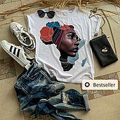 Одежда handmade. Livemaster - original item African Woman Face Print T-shirt-TEE10253CT. Handmade.