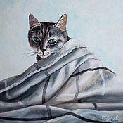 Картины и панно handmade. Livemaster - original item Oil painting of Gray cat. Handmade.