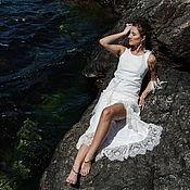 Одежда ручной работы. Ярмарка Мастеров - ручная работа Белое валяное платье с кружевом. Handmade.