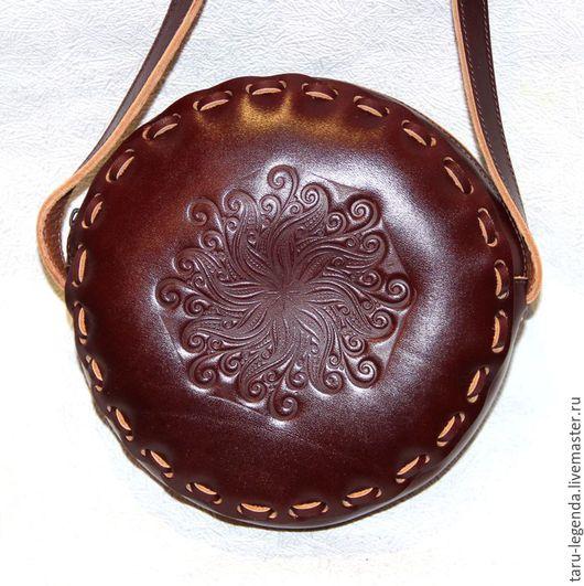 Женские сумки ручной работы. Ярмарка Мастеров - ручная работа. Купить Сумка кожаная круглая на молнии - вишнёво-коричневая. Handmade.