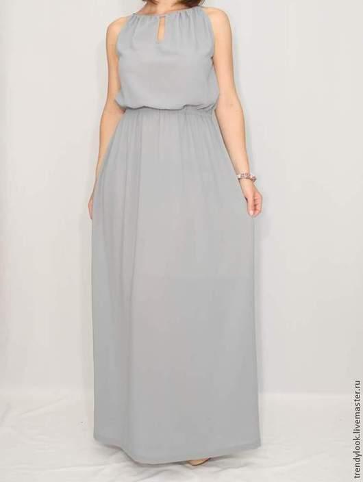 Платья ручной работы. Ярмарка Мастеров - ручная работа. Купить Платье из шифона Светло-серое платье. Handmade. Женская одежда