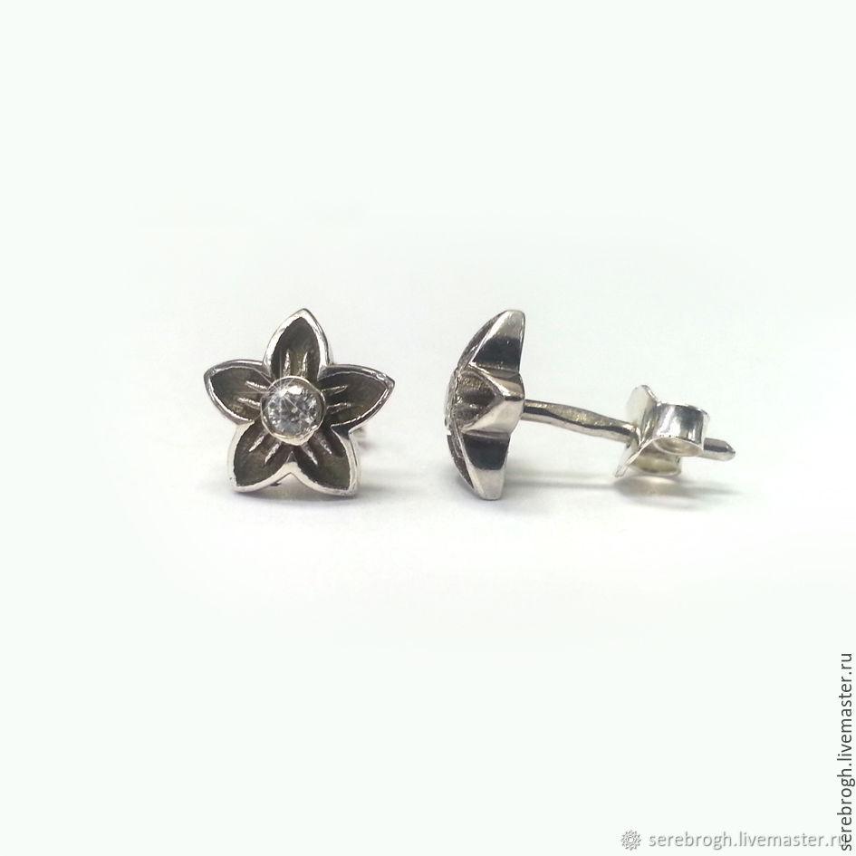 Silver earrings, Pusey, Stud earrings, Moscow,  Фото №1