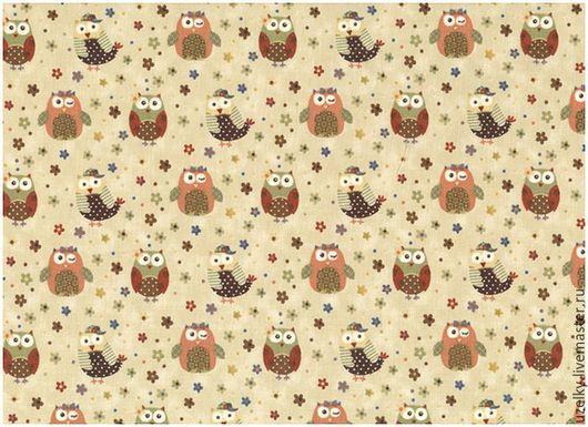 """Шитье ручной работы. Ярмарка Мастеров - ручная работа. Купить Ткань для пэчворка """"Совушки"""" / 4506-555 /. Handmade."""