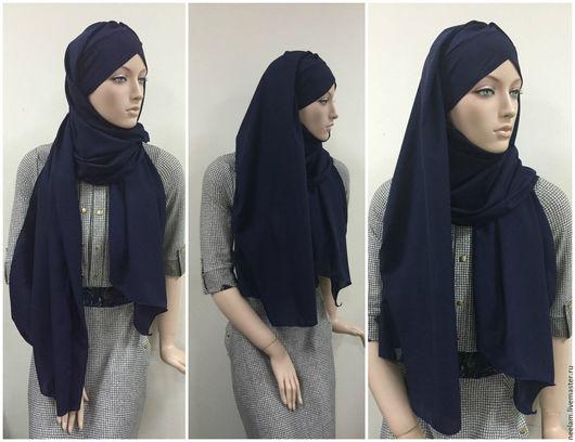 Этническая одежда ручной работы. Ярмарка Мастеров - ручная работа. Купить Хиджаб султанка темно синий. Handmade. Тёмно-синий