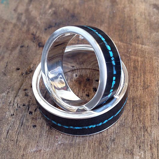 Свадебные украшения ручной работы. Ярмарка Мастеров - ручная работа. Купить Обручальные кольца из серебра с деревом - Бирюзовая нежность. Handmade.