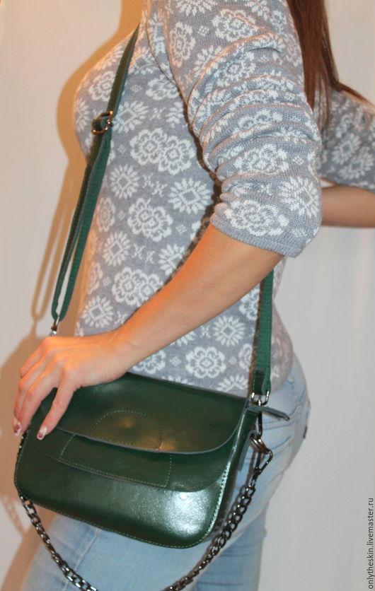 Женские сумки ручной работы. Ярмарка Мастеров - ручная работа. Купить Сумочка из натуральной кожи. Handmade. Тёмно-зелёный