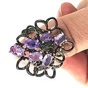Украшения handmade. Livemaster - original item silver ring with amethysts, R. .18. Handmade.
